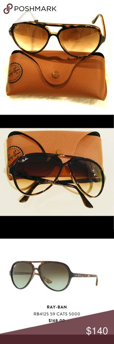 Tortoise shell Ray Ban aviator RB 4125 59 CATS 5000 In perfect condition - only worn a handful of times Comes with ray ban case & original cleaning cloth Ray-Ban Accessories Sunglasses