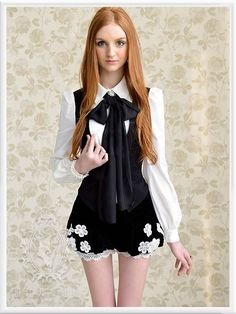 Mango Doll - Black and White Fake Vest Bow Top, $59.99 (http://www.mangodoll.com/all-items/black-and-white-fake-vest-bow-top/)