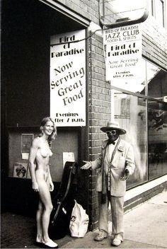 The late Shakey Jake Woods meets a naked lady on S. Ashley Street, Ann Arbor, Michigan -- outside Ron Brooks' Bird of Paradise Jazz Club. Jazz Club, Extraordinary People, Food Club, University Of Michigan, Alma Mater, Ann Arbor, The Outsiders, Naked, Nostalgia