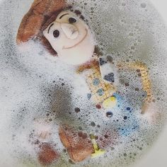 Poor Woody, he's had a tough week. A sick owner puking on him, sweaty baby cuddles and now the final straw...poop.  I feel ya buddy.  #toystory #woody #pixar #toylife #bath