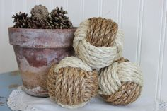 Nautical knots  rope balls  large monkey by highplainsknotwork, $27.00
