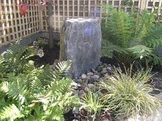 Make a splashing impact with a modest garden water feature and create a unique soothing atmosphere with great calming effects. Stone Water Features, Water Features In The Garden, Slate Garden, Garden Water, Back Gardens, Garden Landscaping, Natural Stones, Design Elements, Garden Design