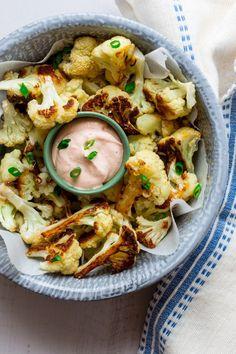 Roasted Cauliflower Wings with Buffalo Yogurt Dip