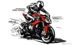 The new S 1000 R naked bike from BMW Motorrad is directly derived from the S 1000 RR superbike and uses pretty much the same technology. Bike Bmw, Moto Bike, Motorcycle Art, Bike Sketch, Car Sketch, Moto Scrambler, Motorbike Design, Industrial Design Sketch, Bmw S1000rr