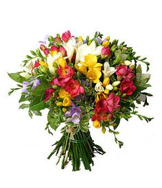 Love the freesias and different colours Freesia Bouquet, Freesia Flowers, Some Ideas, Flower Delivery, Simply Beautiful, Spring Flowers, Gift Baskets, Destination Wedding, Wedding Flowers