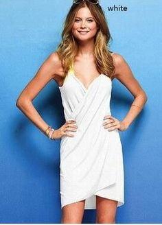 spaghetti-strap women beach dress bikini cover up pool party holiday swimwear towel