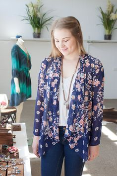 aca634918eb Another shot of our gorgeous floral kimono jacket- inspired by Nina  Proudman. Blue Bungalow
