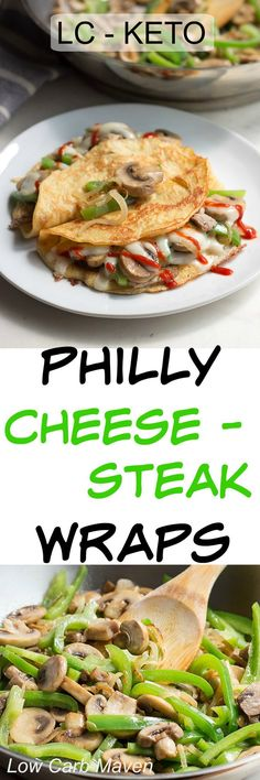 Low carb and keto Philly Cheese Steak Wraps are an easy breakfast or lunch. Lunch Recipes, Beef Recipes, Dinner Recipes, Cooking Recipes, Healthy Recipes, Detox Recipes, Easy Recipes, Sandwich Recipes, Healthy Options