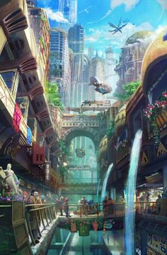 The lush market has a touch of sci-fi, and includes almost the entire range of colors. Soft and misty contrasts the clear altitude of the top of the work. Quite busy, but as it should be.
