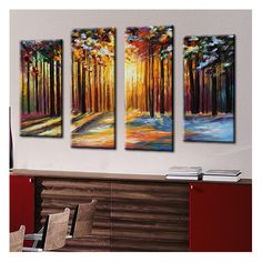 Picture Perfect International 'Sun Of January' by Leonid Afremov 4 Piece Painting Print on Wrapped Canvas Set