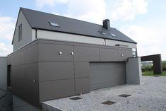 Bureau d'Architecture Van landschoot - Archi DVL - Architecte Conseil Namur - Hainaut - Brabant wallon : Habitation sur 4 niveaux. Garage Door Design, Garage Doors, Vans, Construction, Exterior, Concept, Colors, Outdoor Decor, House