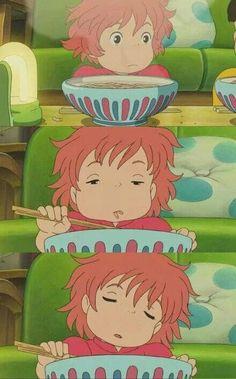 Ponyo going into a food coma<br> Hayao Miyazaki, Totoro, Studio Ghibli Art, Studio Ghibli Movies, Animes Wallpapers, Cute Wallpapers, Anime Manga, Anime Art, Photocollage
