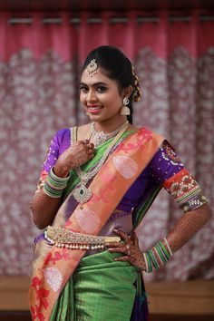 Shopzters is a South Indian wedding site South Indian Wedding Saree, South Indian Weddings, South Indian Bride, Saree Wedding, Indian Bridal, Bridal Sarees, Traditional Blouse Designs, Vaddanam Designs, Best Blouse Designs
