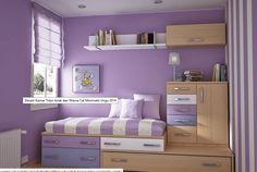 Desain kamar tidur anak dan warna cat minimalis ungu