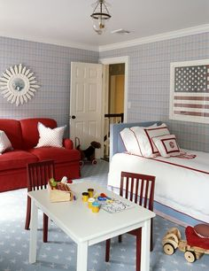 Suzie: Ashley Whittaker Design - Fun red, white & blue boy's bedroom with blue & red wallpaper, ...