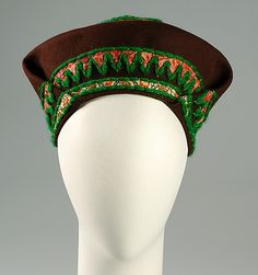 Hat Sally Victor  (American, 1905–1977) Date: 1943 Culture: American Medium: Wool, cotton Accession Number: 2009.300.4439