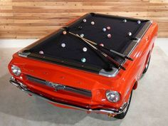 Pool table made to look like the classic '65 Mustang - This is so cool, I might consider having one in my house!!