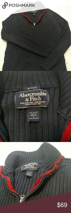 Abercrombie and Fitch Navy sweater Large muscle Used but great condition ribbed sweater, upper zipper with red trim.  No issues, solid comfort, established name. Abercrombie & Fitch Sweaters Zip Up