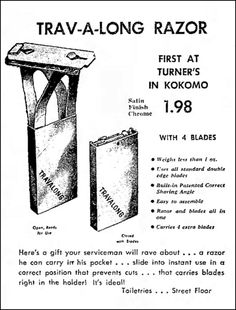 Vintage Newspaper Advertising For The Travalong Men s Travel Safety Razor  At Turner s In Kokomo Indiana 7872aa065c36