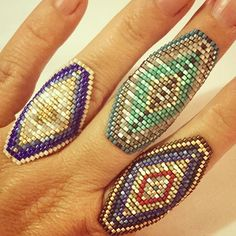 """Rings Boho """"Some busy fingers this week."""" Brick or peyote stitch rings. Beads Jewelry, Beaded Jewelry Patterns, Seed Bead Earrings, Seed Beads, Bead Crafts, Jewelry Crafts, Handmade Jewelry, Seed Bead Patterns, Beading Patterns"""