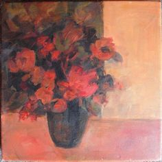 Cynthia Spiers impressionist mixed media still life red flowers in a vase.