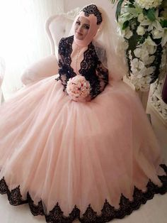Find More Wedding Dresses Information about 2016 Pink Long Sleeve Muslim Hijob Ball Gown Wedding Dresses Black Lace Appliques Tulle Dubai Bridal Gowns vestido de noiva,High Quality gown pants,China dresses graduation Suppliers, Cheap gown peach from The Way To Love Store on Aliexpress.com