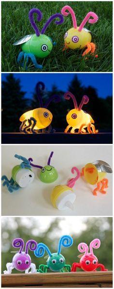 Diy plastic egg glow bugs diy projects поделки, воскресная ш Egg Crafts, Preschool Crafts, Diy Crafts For Kids, Easter Crafts, Projects For Kids, Diy Projects, Holiday Club, Plastic Eggs, Tissue Paper Flowers