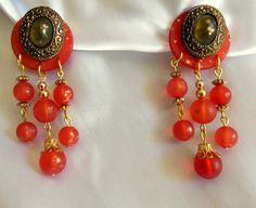 VIntage Statment Earrings Red Waterfall Beaded by VJSEJewelsofhope, $8.00