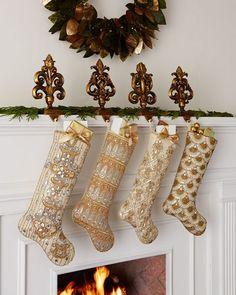 -56Z2 Kim Seybert Golden Christmas Stockings