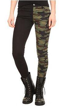 Royal Bones Camo Split Leg Skinny Jeans #goth #fashion @HotTopic