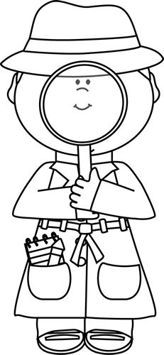 Black and White Girl Detective with Magnifying Glass Clip Art - Black and White Girl Detective with Magnifying Glass Image Detective Crafts, Detective Theme, School Themes, Classroom Themes, Black And White Girl, Preschool Activities, Police Activities, Group Activities, Coloring Sheets For Kids