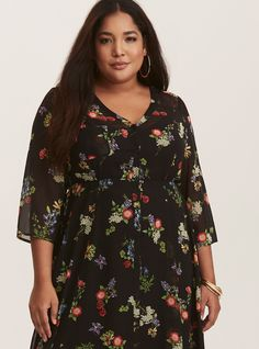 Black Floral Chiffon & Lace Maxi Shirt Dress (Short Inseam Now Available) | Torrid
