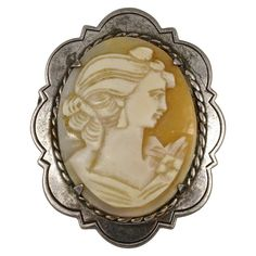 For Sale on - Quality vintage sterling silver and shell cameo brooch, featuring a carved portrait of a lady with rope twist edging. Silver Charms, Silver Earrings, Cameo Jewelry, Ring Necklace, Bracelet, Shells, Vintage Jewelry, Carving, Brooch