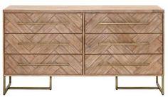Gray Manor Laurel Natural Wood/Acacia/MDF Double Dresser