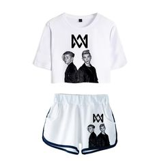 Frdun Tommy 2018 Women Two Piece Set Marcus & Martinus Tracksuit Women Top and Shorts Outfits Set Girl Fans Marcus Martinus Suit Pants For Women, T Shirts For Women, Clothes For Women, T Shirt And Shorts, Women Sleeve, Tour T Shirts, Short Outfits, Suits, Style