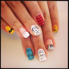 Peanuts nails in the office today! #Peanuts #Snoopy #Woodstock #Nails #NailArt #SnoopyNails #TGIF