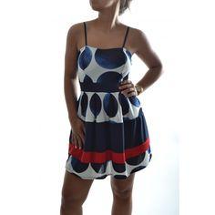 Dámske šaty - modro-biele s červeným