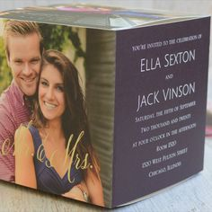 Happy Couple - Foil Photo Cube Invitation. Cleverly designed and super stylish, these photo cube wedding invitations allow you to send several of your favorite photos along with your event details to friends and family. This 3-D cube is an affordable, stand-alone display you'll be excited to send to everyone on your guest list. 3D wedding invitations. Unique wedding invitations. Purple wedding invitations. Purple wedding ideas. Purple and gold wedding ideas.