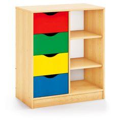 Mueble almacenaje para multiactividades con cajones y estanterias.Maxicolor. Una serie de mobiliario para biblioteca en laminado de abedul con armarios funcionales...