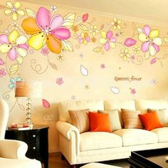 Removable Tree Wall Decals | LEMON TREE Removable Wall Stickers Romantic Flowers 118*39 in