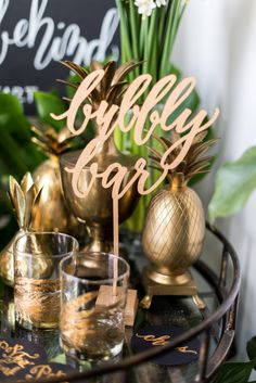 bubbly bar signage  Photography and styling: Sweet Root Village http://sweetrootvillage.com/ | Calligraphy: Laura Hooper Calligraphy http://lhcalligraphy.com/  Read More on SMP: http://stylemepretty.com/vault/gallery/56491