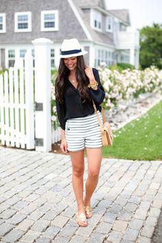 'Sconset Stripes - Zara shorts // Jack Rogers sandals Otte blouse  Julie Vos bracelets // J.Crew hat // YSL purse  Friday, July 11, 2014
