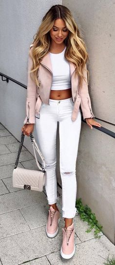 white and pink outfit ripped jeans crop top + bag + sneakets + leather jacket