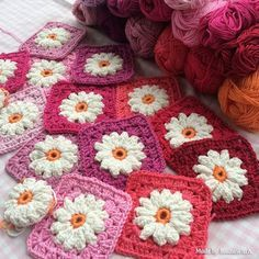Daisies are gorgeous and we have loads of FREE Patterns.  Make Blankets, Cushions, Granny Squares and a set of these lovely Coasters.  Check out the Kitchen Set too!