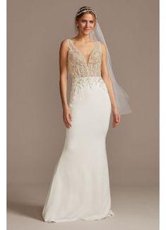 Sheer Plunge Beaded Corset Tall Wedding Dress 4XLSWG865 Strapless Lace Wedding Dress, Crepe Wedding Dress, Wedding Dress Trends, Bridal Wedding Dresses, Wedding Dress Styles, Bridal Style, Gatsby Wedding Dress, Wedding Ideas, Viking Wedding Dress