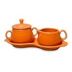 Fiesta® Sugar and Creamer Set with Tray in Tangerine - BedBathandBeyond.com