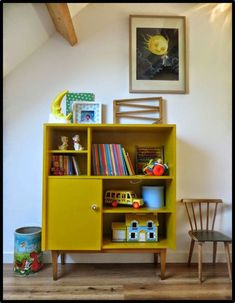 Cute mustard storage cupboard