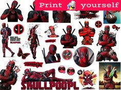 Set #330. Deadpool Mockup printable Tumblr Stickers, Stickers, Sets. Decals. Printable (downloadable) file ONLY. Nothing will be shipped. #PdfPrintable #CutStickers #emoji #Stickers #MockupPrintable #decals #KissCutStickers #PngPrintable #StickersPrintable #TumblrStickers