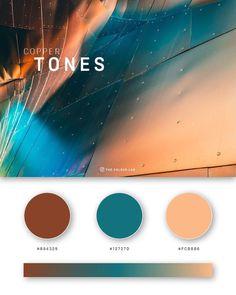 37 Beautiful Color Palettes For Your Next Design Project - Angeltipps Copper Colour Palette, Flat Color Palette, Colour Pallette, Colour Schemes, Copper Color, Color Trends, Pantone Colour Palettes, Orange Color Palettes, Pantone Color