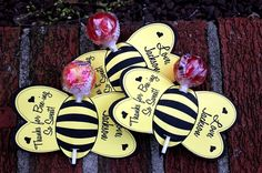 Personalized Bumble Bee Lollipop Party Favors by BabyBunsDesigns, $8.00 lucy-s-1st-bday-ideas